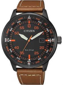 Citizen Eco-Drive Black IP 100m Leather Watch