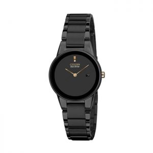Citizen GA1055-57F Eco-Drive Axiom Black Ion Stainless Steel Gold Hands 30m Ladies Watch
