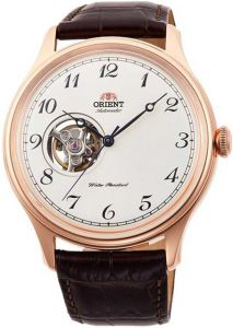 Orient RA-AG0012S10B Open Heart Semi Skeleton Automatic Gent's Leather Elegant Watch